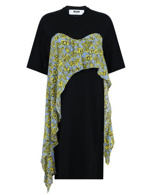 MSGM   Black Ruffled Layered T-shirt Dress   Lyst