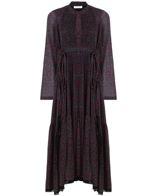 Chloé | Cherry Print Maxi Dress Crimson/black | Lyst