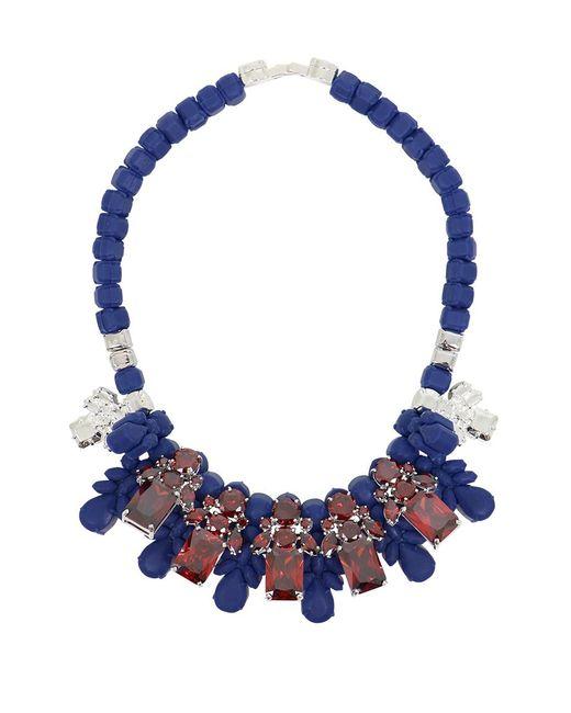 EK Thongprasert | Silicone Five Jewel & Metal Neckpiece Dark Blue/red Crystals | Lyst