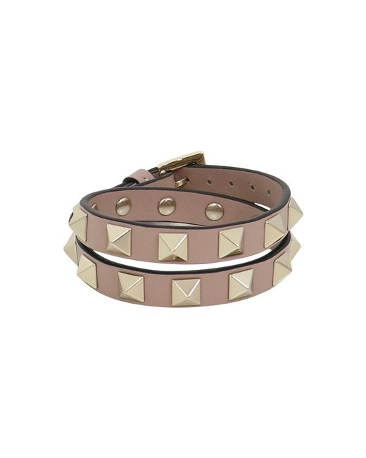 Valentino - Multicolor Rockstud Wrap Leather Cuff Poudre - Lyst