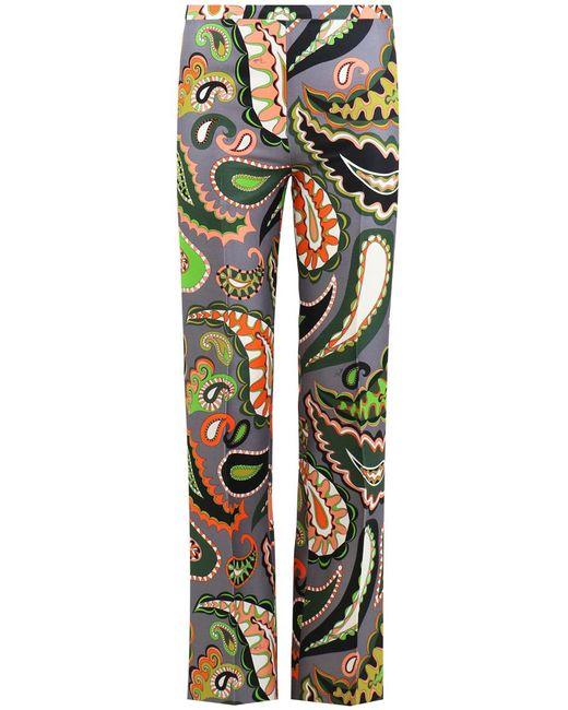 Emilio Pucci - Gray Paisley Print Straight Pants Grey/green - Lyst