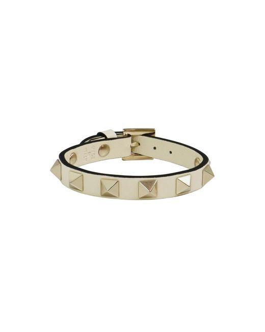 Valentino - White Rockstud Leather Cuff Light Ivory - Lyst