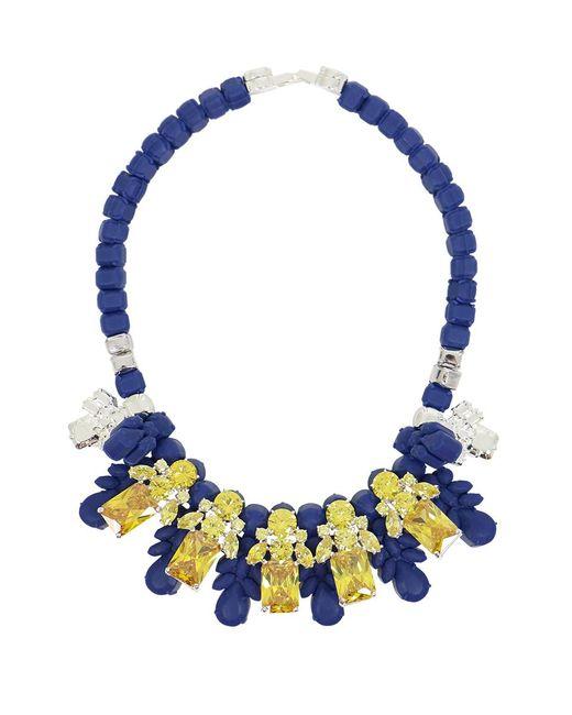 EK Thongprasert - Silicone Five Jewel & Metal Neckpiece Dark Blue/citrine Crystals - Lyst