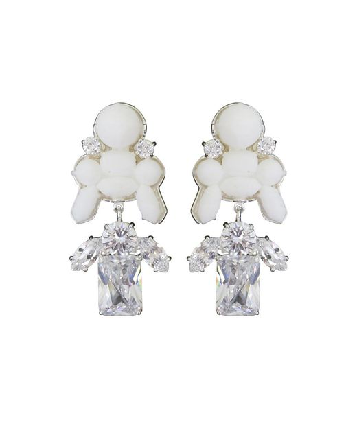 EK Thongprasert | Stepney Drop Earrings White/white Crystals | Lyst