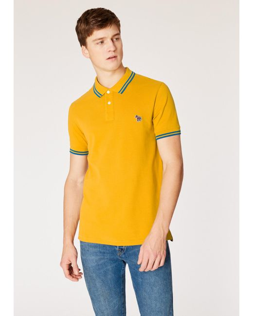 de0dc559a Paul Smith - Yellow Slim-fit Mustard Zebra Polo Shirt With Blue Tipping for  Men ...