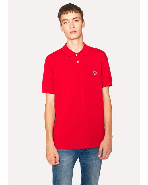 Paul Smith - Men's Red Organic Cotton-piqué Zebra Logo Polo Shirt for Men - Lyst