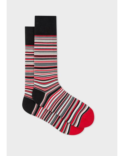 Paul Smith - & Manchester United - Red Narrow Striped Socks for Men - Lyst