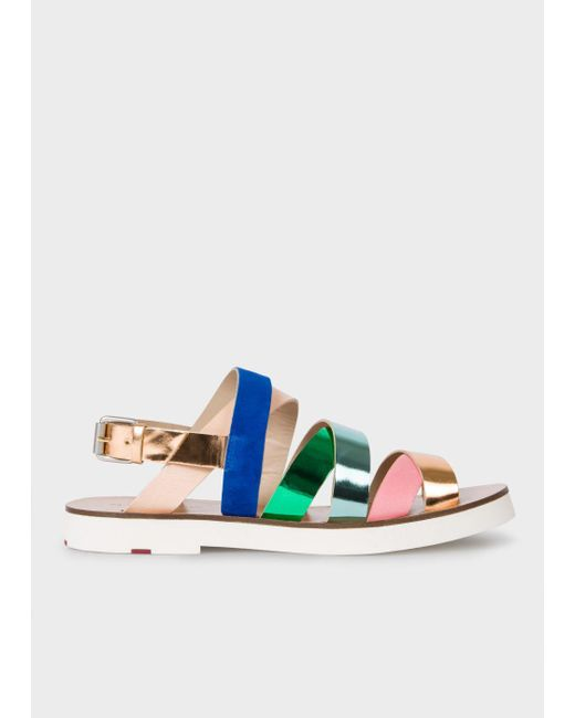 Paul Smith | Blue Women's Multi-colour Leather 'rio' Sandals | Lyst