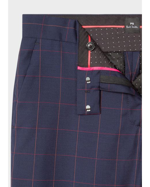 ab16dfe1779e ... Paul Smith - Blue Dark Navy Windowpane Check Wool Suit - Lyst ...