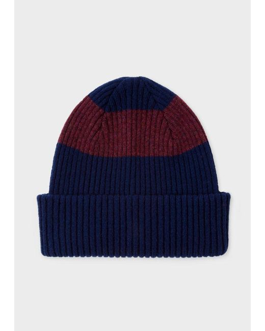 Paul Smith | Blue Men's Navy Ribbed Lambswool Beanie Hat With Plum Stripe for Men | Lyst