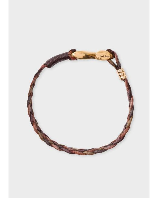 Paul Smith | Men's Brown Five-strand Plaited Leather Bracelet | Lyst