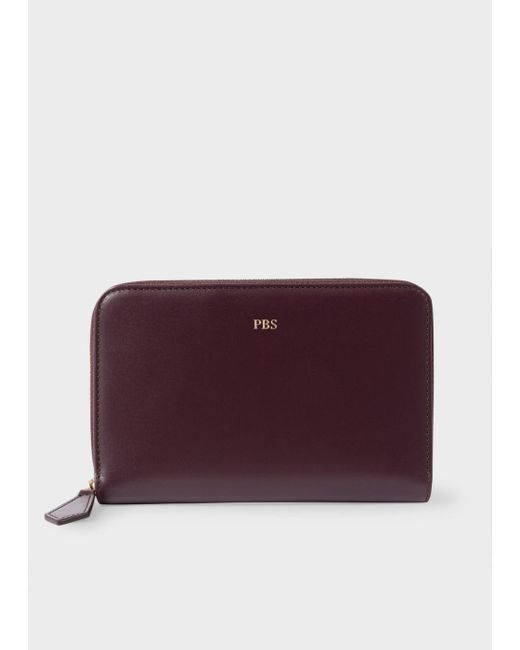 Paul Smith | Purple Women's Medium Damson Leather Monogrammed Zip-around Purse | Lyst