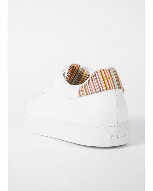 ... Paul Smith - White Baskets Homme  Basso  Blanches  Signature Stripe  En  Cuir ... e26508cc6cb6