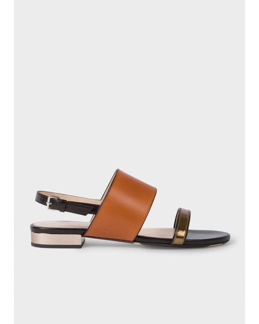 Paul Smith   Brown Women's Tan And Black Leather 'cleo' Sandals   Lyst