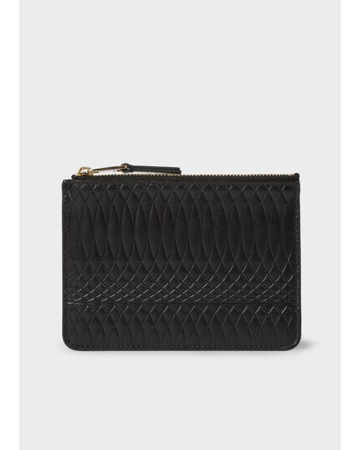 Paul Smith - Women's Black Leather Monogrammed Tri-fold Purse - Lyst