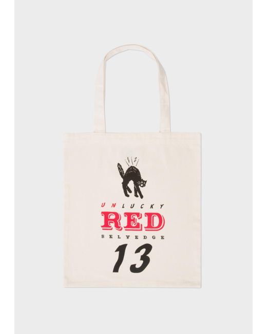Paul Smith   Men's 'lucky Red Selvedge' Print Canvas Tote Bag   Lyst