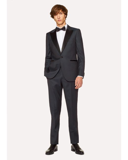 Paul Smith - Blue The Soho - Tailored-fit Navy Houndstooth Evening Suit for Men - Lyst