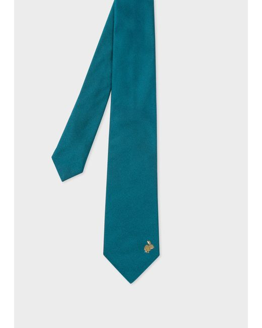 Paul Smith - Blue Rabbit Embroidered Teal Silk Tie for Men - Lyst