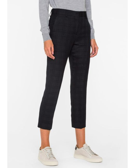 Paul Smith | Women's Slim-fit Black Tonal-check Wool Trousers | Lyst