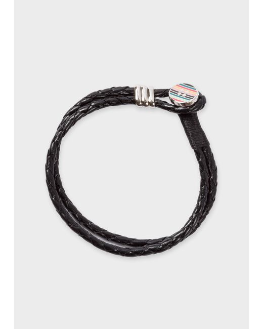 Paul Smith - Stripe Button Black Leather Bracelet for Men - Lyst