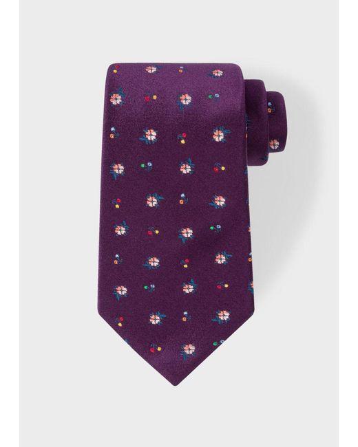 Paul Smith | Men's Purple 'wild Flower' Pattern Silk Tie for Men | Lyst
