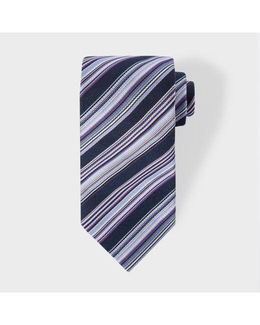 Paul Smith | Blue Men's Navy Multi-coloured Diagonal Stripe Silk Tie for Men | Lyst