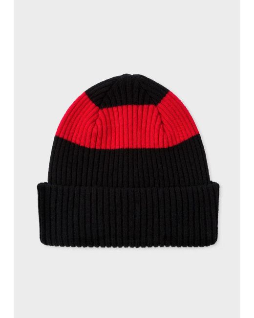 Paul Smith | Men's Black Ribbed Lambswool Beanie Hat With Red Stripe for Men | Lyst