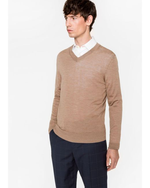 Paul Smith | Multicolor Men's Taupe Merino Wool V-neck Sweater for Men | Lyst