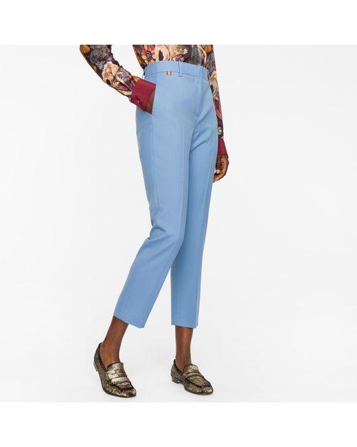 Paul Smith | A Suit To Travel In - Women's Slim-fit Cornflower Blue Wool Trousers | Lyst
