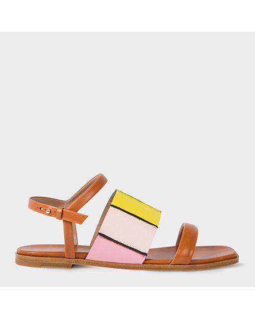Paul Smith   Brown Women's Tan Colour-block Leather 'constance' Sandals   Lyst
