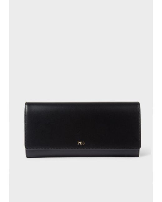 Paul Smith | Women's Black Leather Monogrammed Tri-fold Purse | Lyst