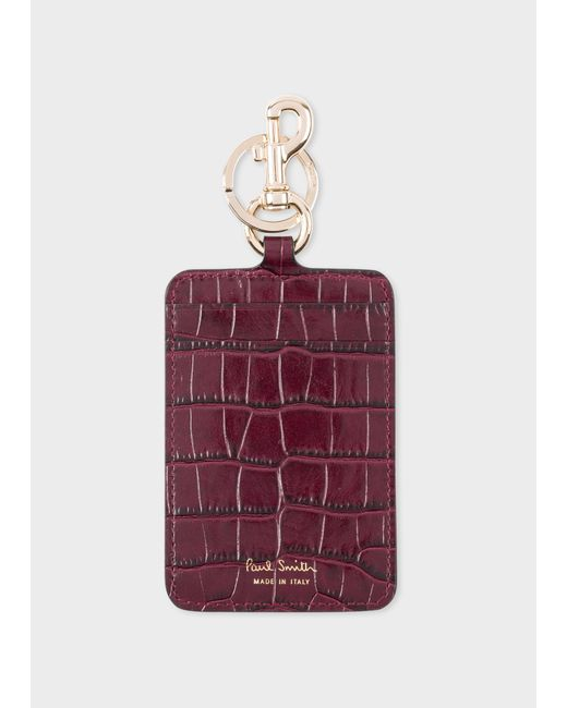 Paul Smith - Purple Burgundy Mock-Croc Clip Card Holder - Lyst