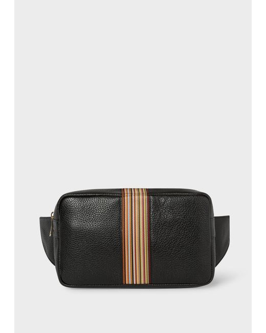 Paul Smith - Black Sacoche Banane Noire 'Signature Stripe' En Cuir for Men - Lyst