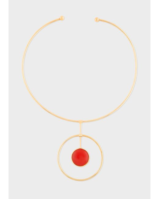 Paul Smith - Metallic Rachel Entwistle - Gold Loop Necklace With Red Coral Stone - Lyst
