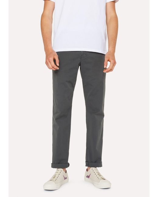 Paul Smith - Gray Tapered-Fit Slate Grey Stretch Pima-Cotton Chinos for Men - Lyst