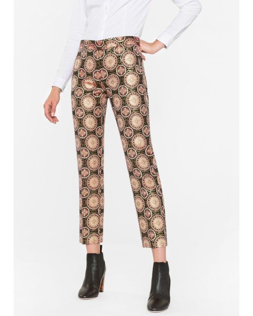Paul Smith | Women's Pink And Gold 'tapestry' Jacquard Trousers | Lyst