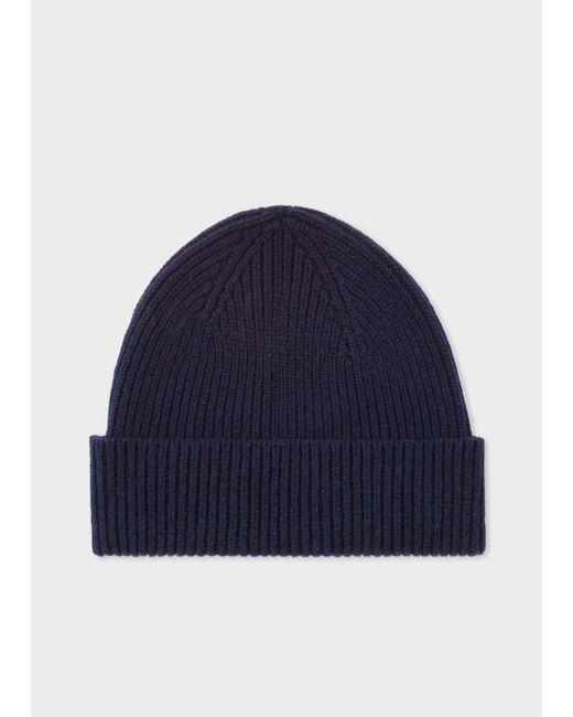 Paul Smith   Blue Men's Navy Cashmere-Blend Beanie Hat for Men   Lyst