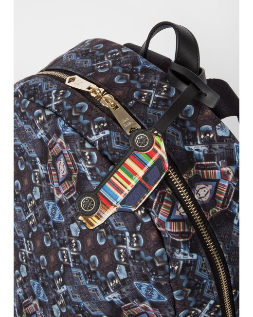 ... Lyst Paul Smith - Blue  Mini Kaleidoscope  Print Canvas Backpack for Men  ... ac6bcf184