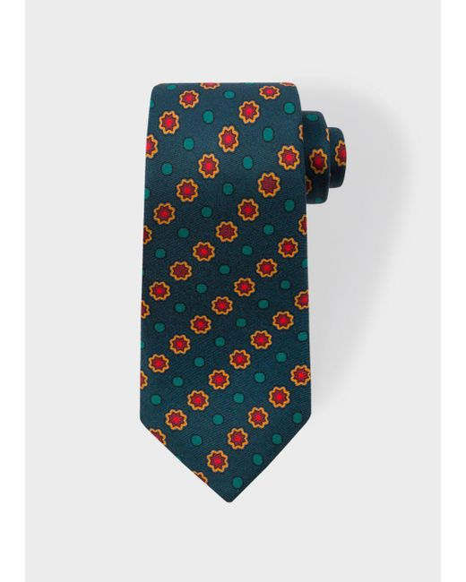 Paul Smith | Men's Fir Green Polka Dot Floral Narrow Silk Tie for Men | Lyst