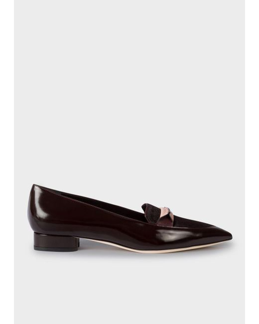 Paul Smith | Multicolor Women's Bordeaux Leather And Calf Hair 'bree' Loafers | Lyst