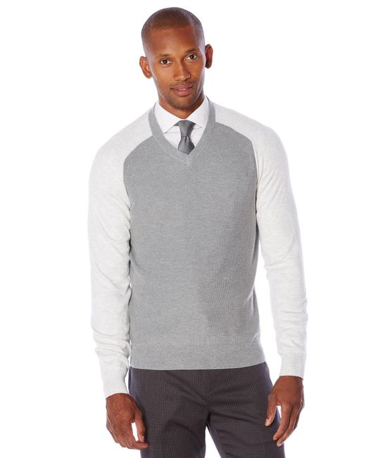 Perry Ellis | Gray Long Sleeve Colorblock Sweater for Men | Lyst