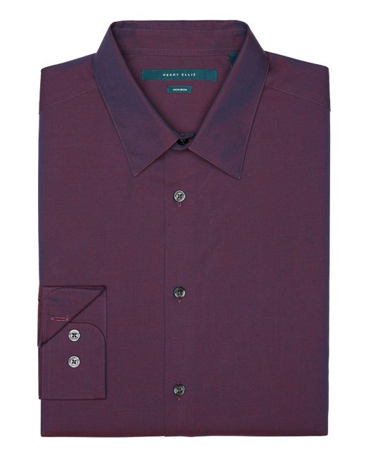 Perry Ellis - Purple Big And Tall Non-iron Iridescent Twill Shirt for Men - Lyst