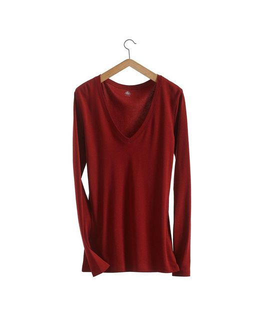Petit Bateau   Brown Women's Long-sleeved, V-neck Tee In Loose Cotton   Lyst