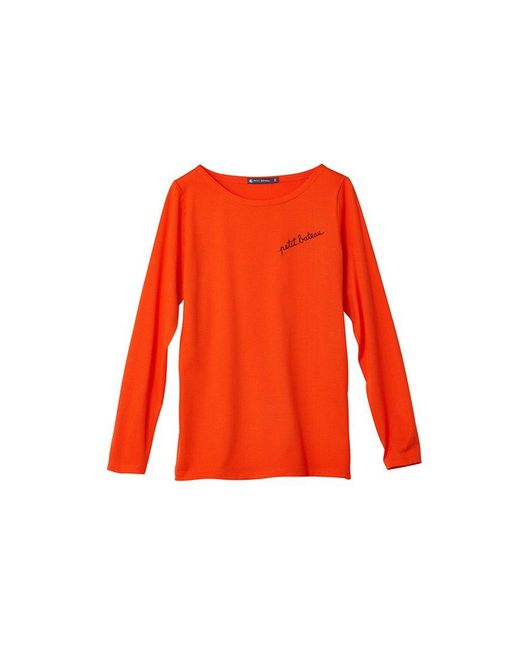 Petit Bateau   Red Women's Cotton Jersey Tee With '' Embroidery   Lyst