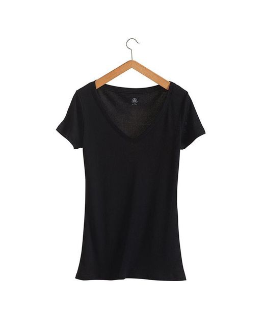 Petit Bateau | Black Women's Light Cotton, V-neck Tee | Lyst