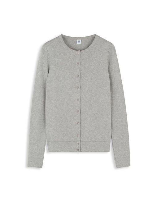 Petit Bateau | Gray Women's Plain Long-sleeved Cardigan | Lyst