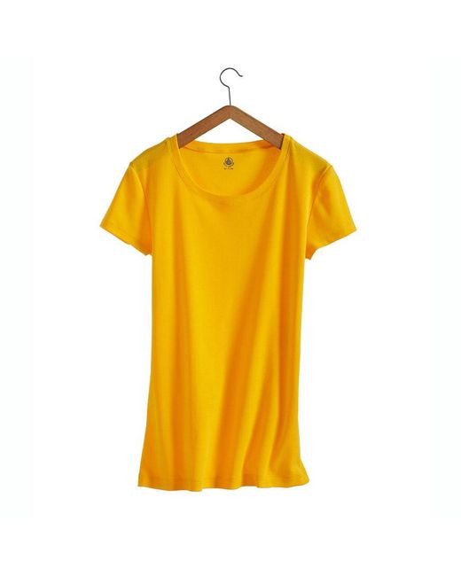 Petit Bateau   Yellow Women's Round Neck Tee In New Cotton   Lyst