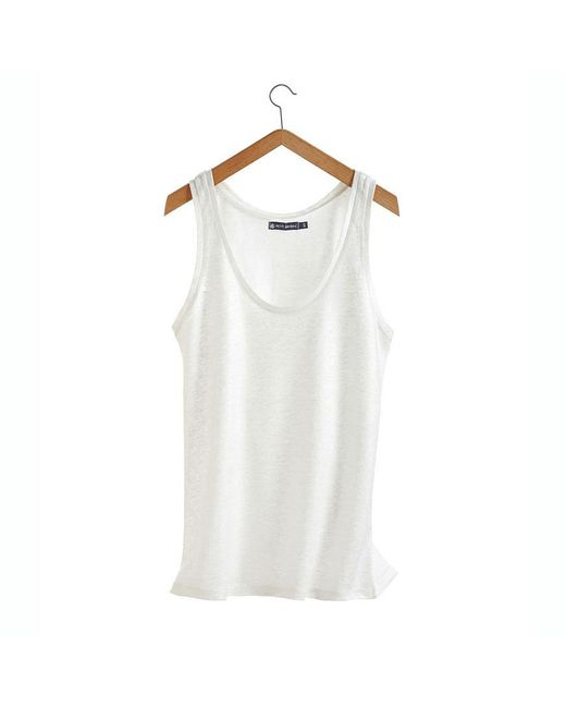 Petit Bateau | White Women's Tank Top In Linen And Lacquered Linen | Lyst