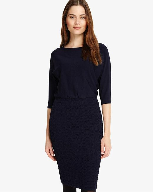 Phase Eight - Blue Adele Texture Knitted Dress - Lyst