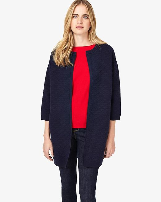 Phase Eight - Blue Luisa Textured Knitted Coat - Lyst